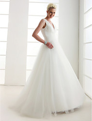 cheap -Ball Gown Wedding Dresses V Neck Floor Length Tulle Regular Straps Open Back with Beading Criss-Cross 2021