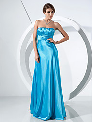 cheap -Ball Gown Formal Evening Military Ball Dress Strapless Sleeveless Sweep / Brush Train Stretch Satin with Ruched 2021