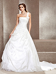 cheap -Princess A-Line Wedding Dresses One Shoulder Cathedral Train Taffeta Sleeveless with 2021