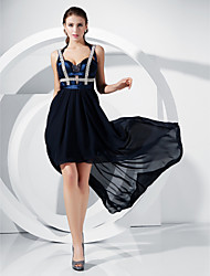cheap -Sheath / Column Celebrity Style Inspired by Grammy Homecoming Cocktail Party Formal Evening Dress Straps Sweetheart Neckline Sleeveless Asymmetrical Floor Length Chiffon Stretch Satin with Beading