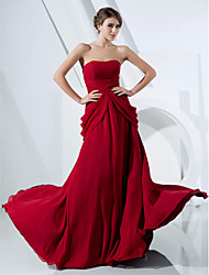 cheap -Ball Gown Open Back Prom Formal Evening Dress Strapless Sleeveless Sweep / Brush Train Chiffon with Beading Draping Side Draping 2021