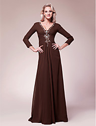 cheap -A-Line Mother of the Bride Dress V Neck Floor Length Chiffon 3/4 Length Sleeve with Beading Side Draping 2020