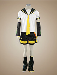 cheap -Inspired by Vocaloid Kagamine Len Video Game Cosplay Costumes Cosplay Suits Patchwork Short Sleeve Top Sleeves Belt Costumes / Satin