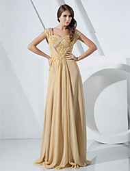 cheap -Sheath / Column Elegant Formal Evening Military Ball Dress Off Shoulder Short Sleeve Floor Length Chiffon with Lace Beading 2020
