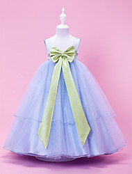 cheap -Princess / Ball Gown / A-Line Tea Length Wedding Party Tulle / Stretch Satin Sleeveless Straps with Bow(s) / Draping