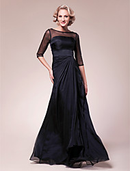 cheap -A-Line Mother of the Bride Dress See Through Bateau Neck Floor Length Chiffon Stretch Satin Half Sleeve with Beading Side Draping 2021