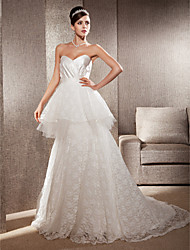 cheap -Princess A-Line Wedding Dresses Strapless Sweetheart Neckline Court Train Lace Sleeveless with 2020