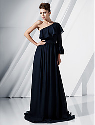 cheap -Ball Gown Elegant Formal Evening Military Ball Dress One Shoulder 3/4 Length Sleeve Floor Length Chiffon with Ruffles Draping 2020