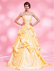 cheap -Ball Gown Open Back Quinceanera Prom Formal Evening Dress Strapless Sleeveless Floor Length Taffeta with Pick Up Skirt Crystals Beading 2021