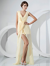 cheap -Sheath / Column Celebrity Style Elegant Cocktail Party Prom Dress V Neck Sleeveless Asymmetrical Floor Length Chiffon with Sash / Ribbon Side Draping Split Front 2021