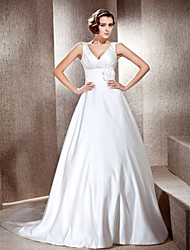 cheap -Princess A-Line Wedding Dresses V Neck Cathedral Train Satin Sleeveless with 2020