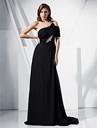 cheap -Ball Gown Formal Evening Military Ball Dress Off Shoulder Short Sleeve Sweep / Brush Train Chiffon Stretch Satin with Beading Draping Crystal Brooch 2021