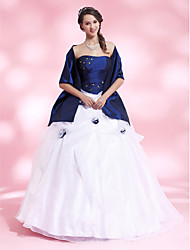 cheap -Ball Gown Quinceanera Prom Formal Evening Dress Strapless Sleeveless Floor Length Organza Taffeta with Pick Up Skirt Crystals Beading 2020