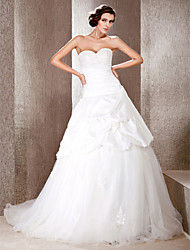 cheap -Princess Ball Gown A-Line Wedding Dresses Sweetheart Neckline Strapless Chapel Train Taffeta Tulle Sleeveless with 2021