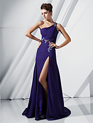 cheap -Ball Gown Formal Evening Military Ball Dress One Shoulder Sleeveless Sweep / Brush Train Chiffon with Crystals Beading Appliques 2021
