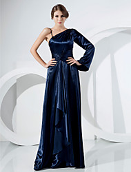 cheap -Ball Gown Elegant Formal Evening Military Ball Dress One Shoulder Long Sleeve Sweep / Brush Train Stretch Satin with Beading Draping Side Draping 2020
