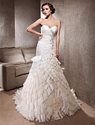 cheap -Mermaid / Trumpet Wedding Dresses Sweetheart Neckline Spaghetti Strap Chapel Train Taffeta Sleeveless with 2020