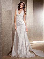 cheap -Princess A-Line Wedding Dresses V Neck Chapel Train Chiffon Lace Sleeveless with 2020