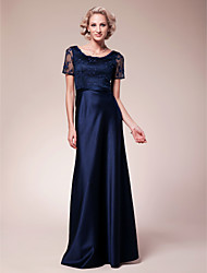 cheap -Sheath / Column Scoop Neck Floor Length Lace / Satin Mother of the Bride Dress with Beading / Lace by LAN TING BRIDE®