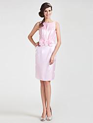 cheap -Sheath / Column Jewel Neck Knee Length Stretch Satin Bridesmaid Dress with Draping / Sash / Ribbon / Flower by LAN TING BRIDE®