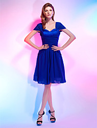 cheap -A-Line Elegant Cute Homecoming Cocktail Party Dress Sweetheart Neckline Short Sleeve Knee Length Chiffon Stretch Satin with Draping 2020