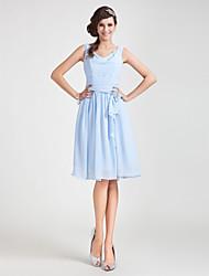 cheap -Princess / A-Line Cowl Neck Knee Length Chiffon Bridesmaid Dress with Sash / Ribbon / Ruched / Draping