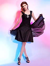 cheap -Ball Gown Little Black Dress Cocktail Party Dress Straps Sweetheart Neckline Sleeveless Knee Length Chiffon with Criss Cross Beading Draping 2021