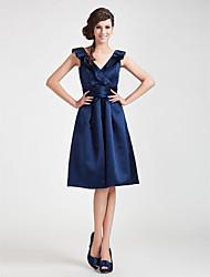 cheap -Princess / A-Line V Neck Knee Length Satin Bridesmaid Dress with Sash / Ribbon / Ruched / Ruffles / Open Back
