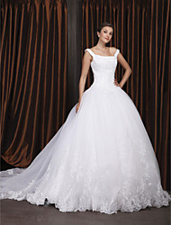 cheap -Ball Gown Square Neck Chapel Train Organza / Floral Lace Regular Straps Made-To-Measure Wedding Dresses with Beading / Appliques 2020