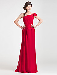 cheap -Sheath / Column One Shoulder Floor Length Chiffon Bridesmaid Dress with Side Draping / Crystal Brooch by LAN TING BRIDE®