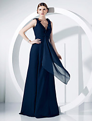 cheap -Ball Gown Elegant Formal Evening Military Ball Dress V Neck Sleeveless Floor Length Chiffon with Ruched Ruffles Draping 2021
