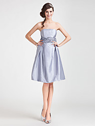 cheap -A-Line Princess Strapless Knee Length Taffeta Bridesmaid Dress with Draping Sash / Ribbon Ruched by