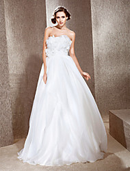 cheap -Princess A-Line Wedding Dresses Strapless Floor Length Organza Satin Sleeveless with 2020