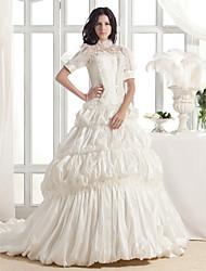cheap -Princess A-Line Wedding Dresses High Neck Court Train Lace Taffeta Short Sleeve with 2020 / Puff / Balloon Sleeve