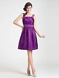 cheap -Cocktail Party / Wedding Party Dress - Grape Plus Sizes / Petite A-line / Princess Straps / Square Knee-length Stretch Satin