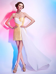 cheap -Sheath / Column All Celebrity Styles Homecoming Cocktail Party Dress Sweetheart Neckline Strapless Sleeveless Short / Mini Chiffon Taffeta with Side Draping 2021