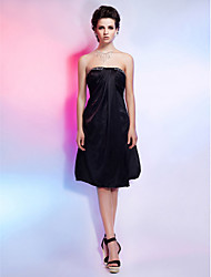 cheap -Ball Gown Little Black Dress Holiday Homecoming Cocktail Party Dress Strapless Sleeveless Knee Length Charmeuse with Beading Draping 2020