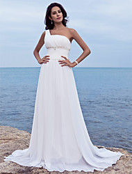 cheap -Sheath / Column Wedding Dresses One Shoulder Court Train Chiffon Sleeveless with 2021