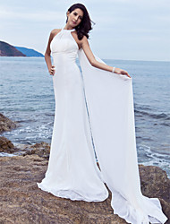 cheap -Sheath / Column Halter Neck Sweep / Brush Train Chiffon Sleeveless Made-To-Measure Wedding Dresses with Draping 2020