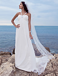 cheap -A-Line Wedding Dresses Sweetheart Neckline Watteau Train Chiffon Spaghetti Strap Beach Sparkle & Shine with Beading 2021