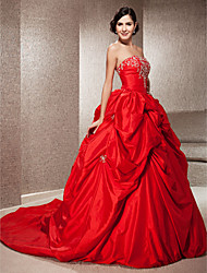 cheap -Ball Gown Wedding Dresses Strapless Chapel Train Taffeta Strapless Glamorous Plus Size with Pick Up Skirt Beading Embroidery 2021