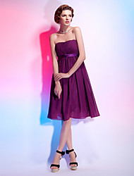 cheap -Ball Gown Elegant Cocktail Party Dress Strapless Sleeveless Knee Length Chiffon Stretch Satin with Sash / Ribbon Ruched Draping 2021