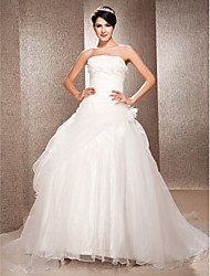 cheap -Ball Gown A-Line Wedding Dresses Strapless Court Train Organza Sleeveless with 2020