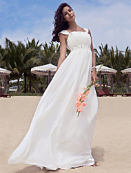 cheap -A-Line Wedding Dresses Square Neck Floor Length Chiffon Regular Straps with Beading Draping 2021