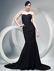 cheap -Mermaid / Trumpet Strapless Sweetheart Court Train Chiffon Formal Evening Dress with Beading Draping Ruched Criss Cross by