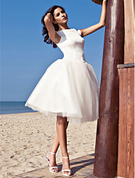 cheap -A-Line Wedding Dresses Bateau Neck Knee Length Satin Tulle Cap Sleeve Simple Casual Vintage Plus Size Cute with Draping 2020 / Beach / Destination