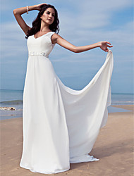 cheap -Sheath / Column V Neck Floor Length Chiffon Regular Straps Made-To-Measure Wedding Dresses with Beading / Sash / Ribbon 2020 / Removable train