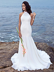 cheap -Mermaid / Trumpet Wedding Dresses Halter Neck Sweep / Brush Train Chiffon Regular Straps with Beading 2021