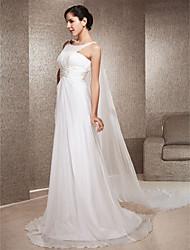 cheap -Princess A-Line Wedding Dresses Jewel Neck Watteau Train Sweep / Brush Train Chiffon Sleeveless with 2021