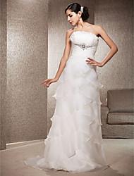 cheap -Lanting Bride Sheath/Column Petite / Plus Sizes Wedding Dress-Court Train Strapless